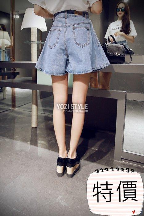 東大門平價鋪   韓國高腰牛仔短褲,女簡約寬鬆大碼顯瘦學院風薄款百搭闊腿熱褲潮