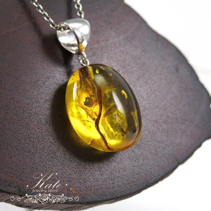 天然琥珀純銀墜 波羅的海 稀有植物珀 蟲珀 大顆貴氣 原礦打磨 925純銀寶石單墜/生日禮物情人禮物/KATE銀飾