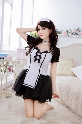 Sexy lingerie Maid Waitress Uniform Cosplay Costumes Outfits