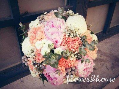 F22-新娘捧花。鄉村牡丹捧花。拍照捧花。結婚捧花。歡迎自取【Flower&House花藝之家】