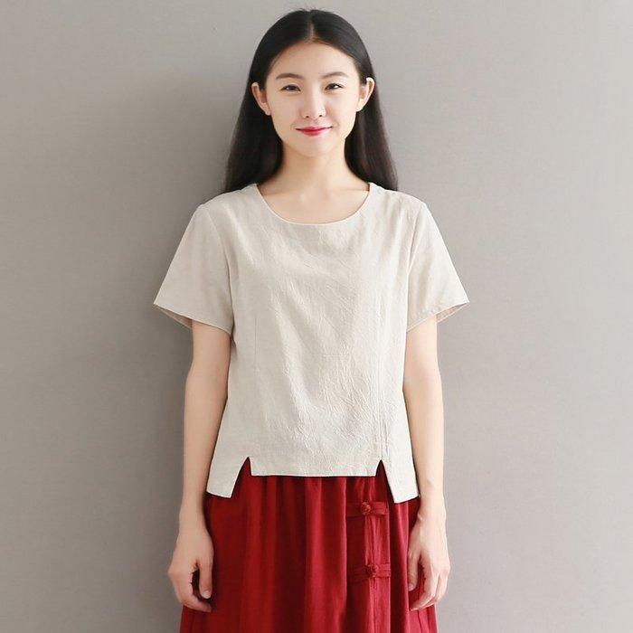 [C.M.平價精品館]M~2XL/簡約有型棉麻清爽材質前短後長百搭短袖上衣 綠/杏色