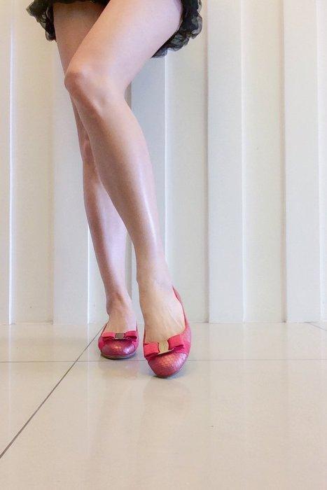 *Beauty*Salvatore Ferragamo 珊瑚粉色芭蕾舞鞋 蝴蝶結娃娃鞋 5號 CR