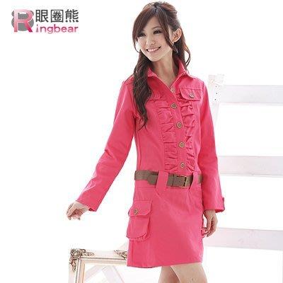洋裝--帥性軍裝胸前皺摺銅扣附腰帶長袖...