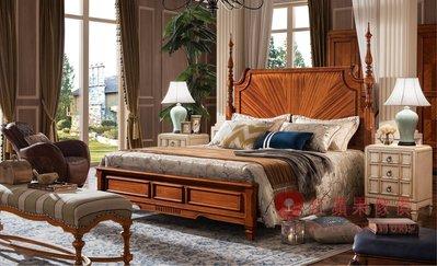 [紅蘋果傢俱] YHX301 美式 英式 仿古 六尺床 加大床 雙人床 床台 床架 實木雕刻 拼花