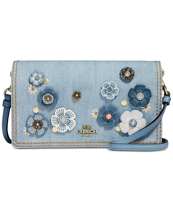 Coco小舖COACH 66623 Hayden Denim Crossbody with Tea Rose 茶花丹寧包