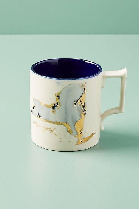 美國鄉村Anthropologie 紐約地圖城市杯 Whitney Winkler Home State Mug