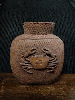 竹雕◎  魚蟹 富甲天下 年年有餘 竹雕筆筒