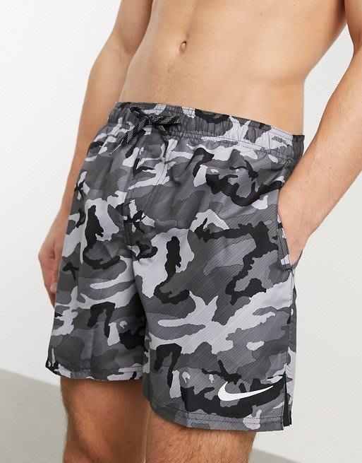 南◇2020 5月 Nike Swimming  短褲 迷彩 灰色 海灘褲 沙灘褲 泳褲 灰黑色 游泳褲 小勾勾