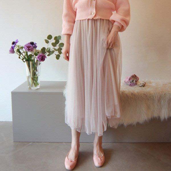 長裙 正韓 韓國空運 網紗鬆緊腰層次感紗裙 艾爾莎【TA660416】
