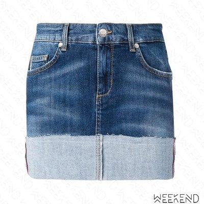 【WEEKEND】 LIU JO 不修邊 反摺 牛仔 短裙 迷你裙 窄裙 藍色