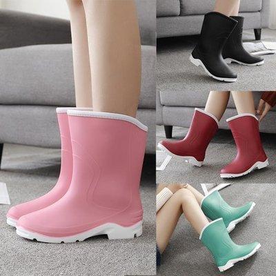 時尚中筒雨靴短筒女水靴膠鞋套鞋防滑水鞋成人雨鞋女   全館免運