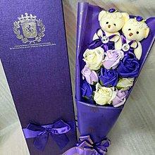 9支 三色玫瑰花 加2隻小熊 畢業生日 禮物香皂花束 Valentine's Day 紅色 粉紅 奶白 情人節