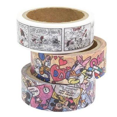 《散步生活雜貨-和紙膠帶》日本製 迪士尼系列 米奇 MICKEY 15mm 3捲一組 紙膠帶 - 82853
