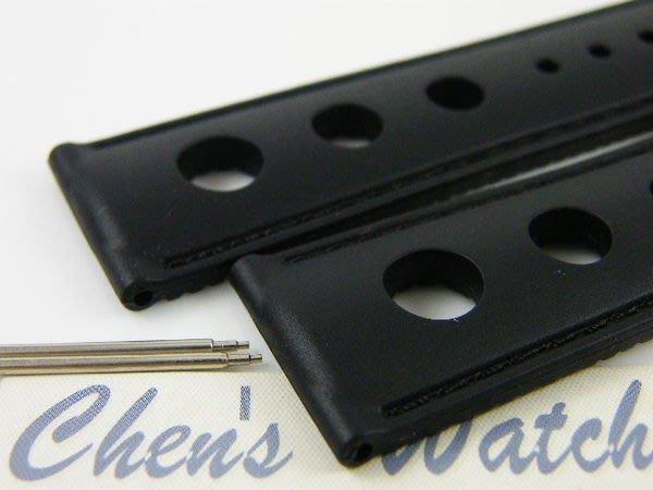 【錶帶家】『嚴選』進口賽車三孔超透氣矽膠錶帶 19mm 20mm 21mm 22mm 可用蕭邦 天梭 百年靈 帝舵