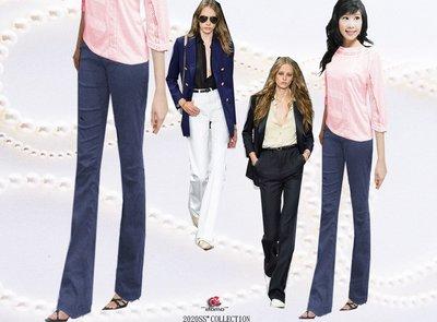*FASHION STAR*iitomo台製精品MIT~涼夏最好穿絲光棉壓線修大腿長細腿牛仔藍微喇叭褲S~3XL