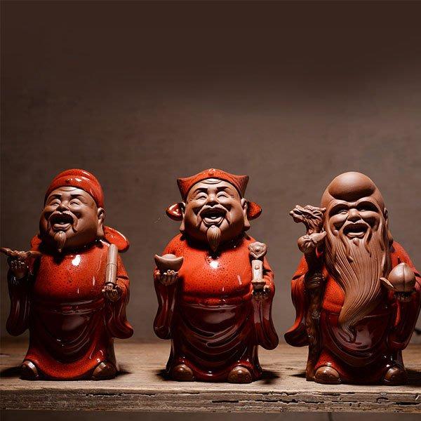 5Cgo【茗道】含稅會員有優惠 553665518008 中式禅意福祿壽三星財神爺開業禮品陶瓷工藝品家居裝飾博古架擺件