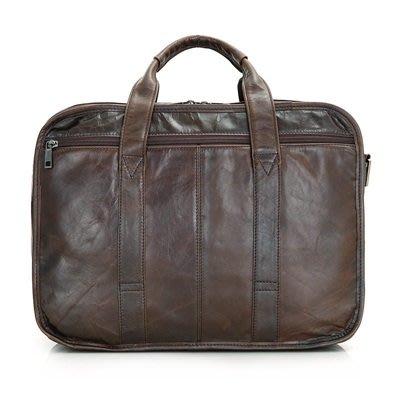 手提 包 真皮公事包-15.6吋純色牛皮大容量男包包73ur34[獨家進口][米蘭精品]
