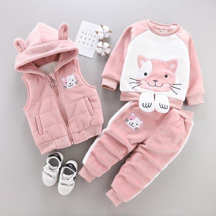 999女童裝秋冬款加絨加厚金絲絨三件套裝嬰兒童寶寶冬裝1-3歲4外套潮01KK12