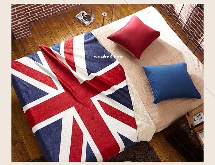 尼克卡樂斯~英國旗美國旗羊毛絨大毯子 床用毯 沙發毯子 車用毯子 雙人棉被 加厚羊毛毯 工業風寢具