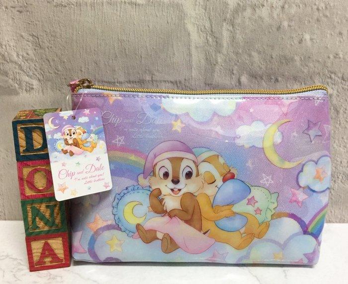 【Dona日貨】日本正版 迪士尼 花栗鼠奇奇蒂蒂 星空睡衣系列 化妝包/收納包/隨身包 B11