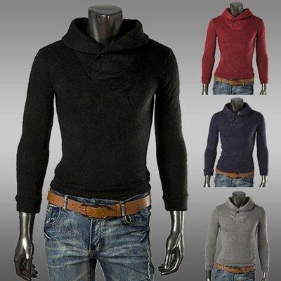 『潮范』新款翻領扣子裝飾男士修身素面毛衣外套套頭衫素面針織衫打底衫羊毛衫線衫NRB10897