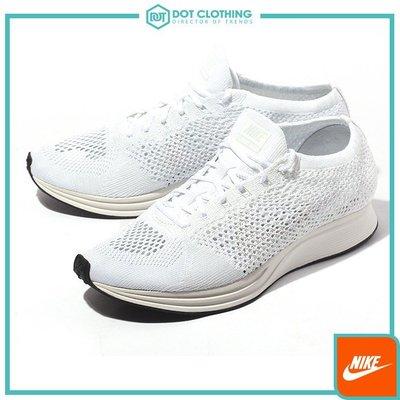 DOT聚點 Nike Flyknit Racer 全白 乳白 編織 飛織 純白 輕量慢跑鞋 男女 526628-100