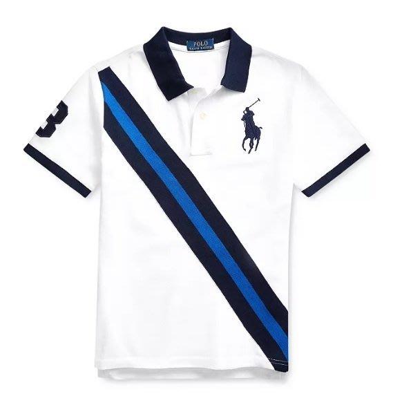 POLO Ralph Lauren 大馬 短袖 polo衫 青年款 白色 斜槓