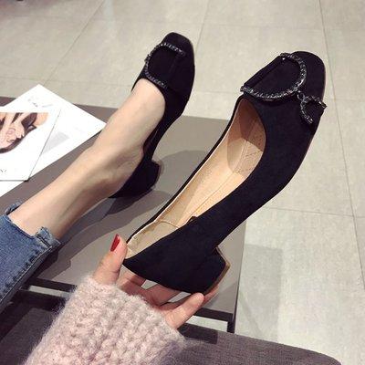 柒柒KR 正韓歐美風時尚2019春夏季新款女鞋子大碼絨面水鉆淺口方頭低跟單鞋女