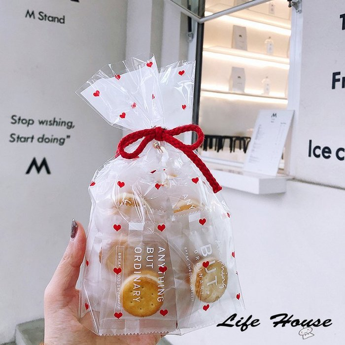 紅色愛心平口袋10入15*23.5cm 西點餅乾袋 零食包裝袋 禮品包裝袋 愛心包裝袋 糖果包裝袋 紅色禮物袋
