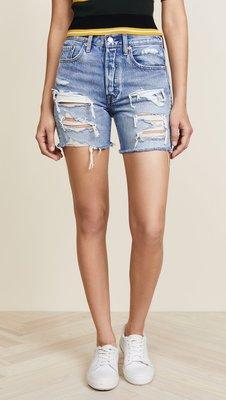 ◎美國代買◎Levi's indie shorts in let it rip抽鬚刷破頹廢風高腰牛仔刷破長版牛仔短褲