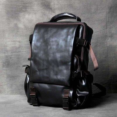後背包真皮雙肩包-黑色油蠟牛皮休閒男女包包73vz5[獨家進口][米蘭精品]