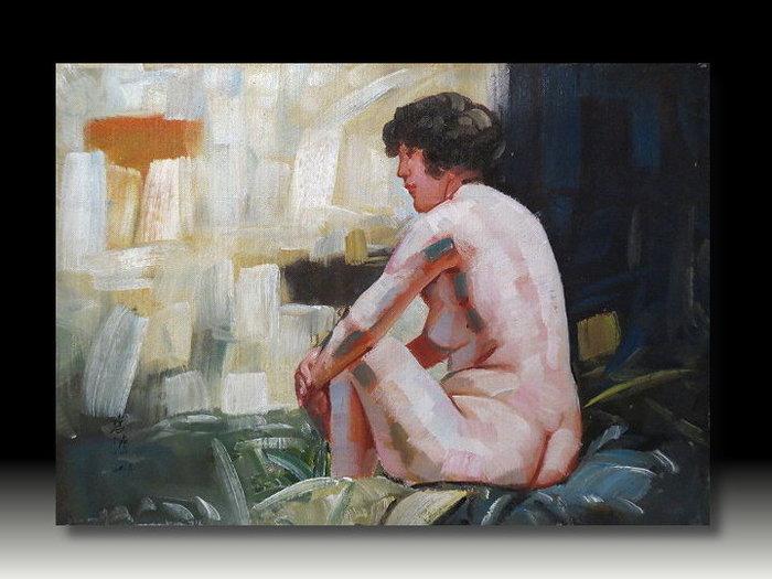 【 金王記拍寶網 】U854  中國近代書畫名家 徐悲鴻 款 手繪油畫一張 裸女圖~ 罕見稀少 藝術無價~