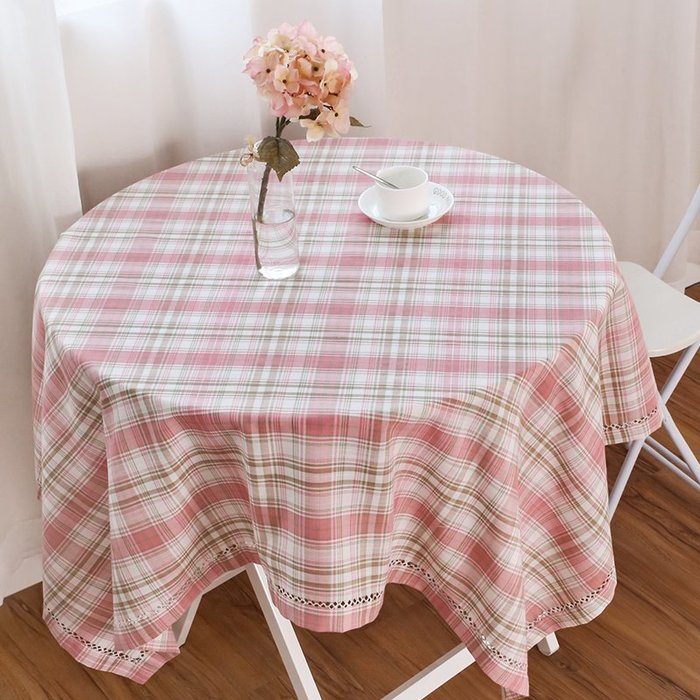 桌布桌旗廚房裝飾桌墊茶幾桌布布藝田園桌布布藝茶幾桌布長方形正方形餐桌布格子電視柜電腦小桌布