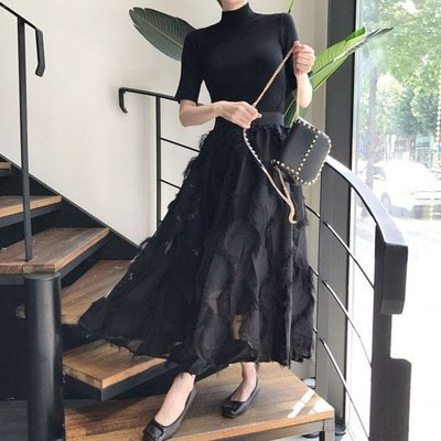 BOSHOW 韓國連線 正韓 彈力小高領針織+羽毛鬆緊腰半身裙套裝