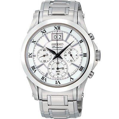 可議價.「1958 鐘錶城」SEIKO精工錶 Premier 人動電能/時尚大日期視窗計時腕錶(SPC063J1)-41mm