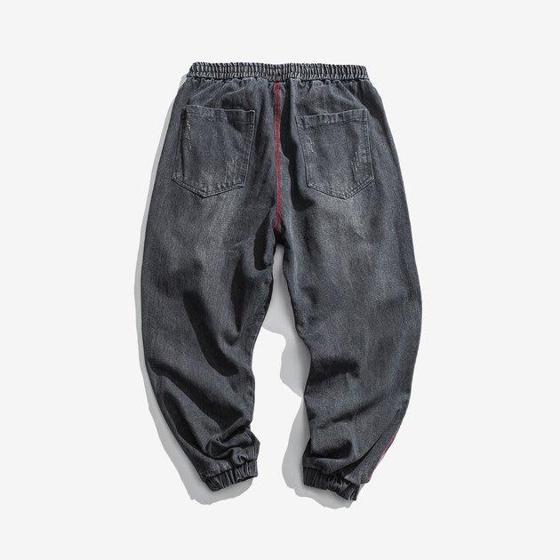 FINDSENSE 2019 秋季上新 牛仔褲 G7 明線 條紋 束腳牛仔褲 男褲 長褲