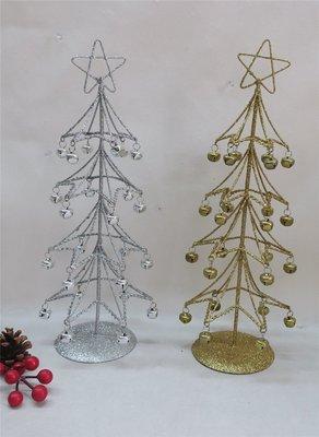 海迪聖誕裝飾擺件聖誕櫥窗用品新款鐵藝閃粉聖誕樹帶鈴鐺擺件單個
