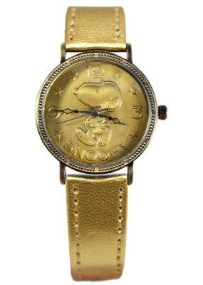 【卡漫迷】 Snoopy 皮革 手錶 古銅 金 ㊣版 史努比 女錶 兒童錶 卡通錶 史奴比 復古 經典 八折特價