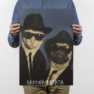 ~貼貼屋~寵物明星臉~MIB星際戰警 貓狗海報 人物 懷舊復古 牛皮紙海報 壁貼 店面裝飾  555