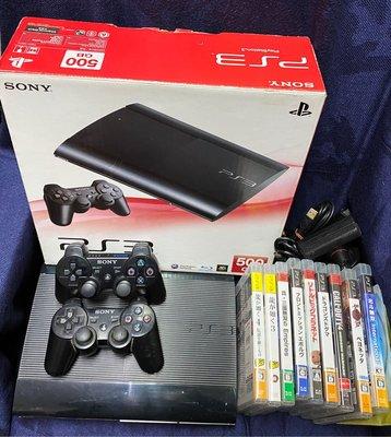 Sony PlayStation 3 CECH-4007C 500GB 主機(4.85 ver.,未改機)、原廠手把*2、遊戲*13、原廠攝影機*1。