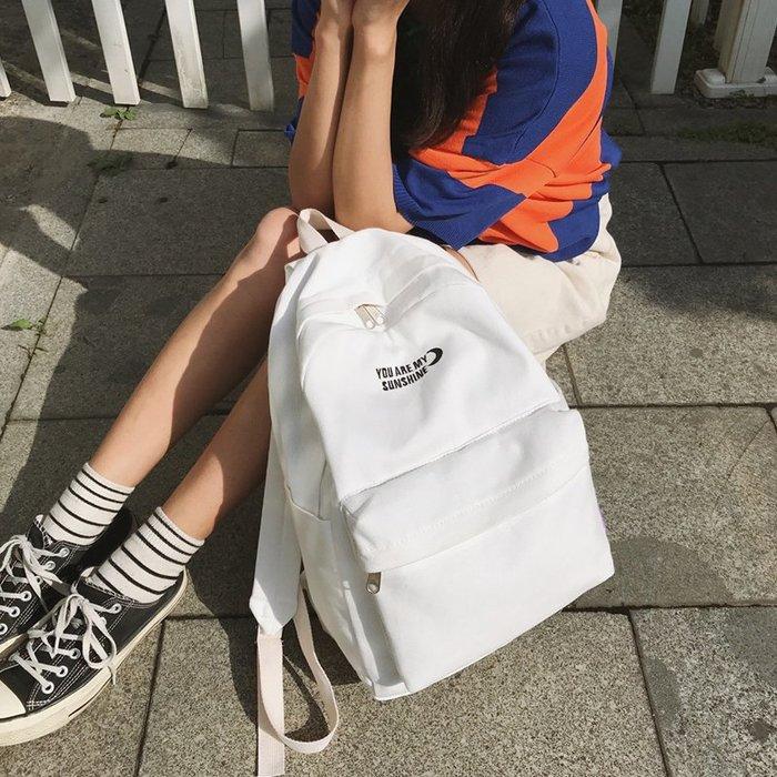 書包女韓版原宿ulzzang 高中學生背包chic簡約百搭帆布校園雙肩包 時尚背包