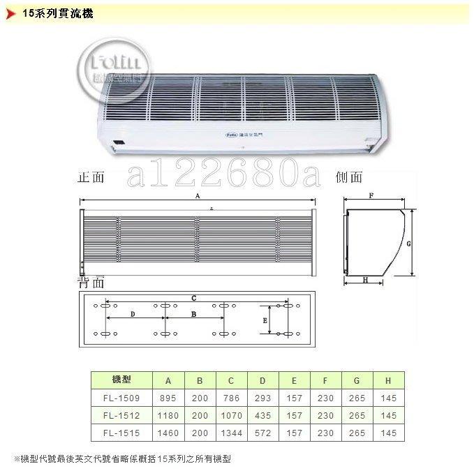 【議晟空氣門】【FL-1512B】【110V / 220V】120CM / 4尺 空氣門 風量射程 5.5