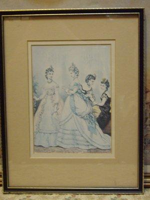 歐洲古物時尚雜貨 英國 仕女畫 4女2站1坐 掛畫 壁掛擺飾品
