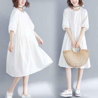 胖mm不規則下擺燈籠袖魚尾裙洋氣減齡仙女裙大碼夏季寬松女連衣裙