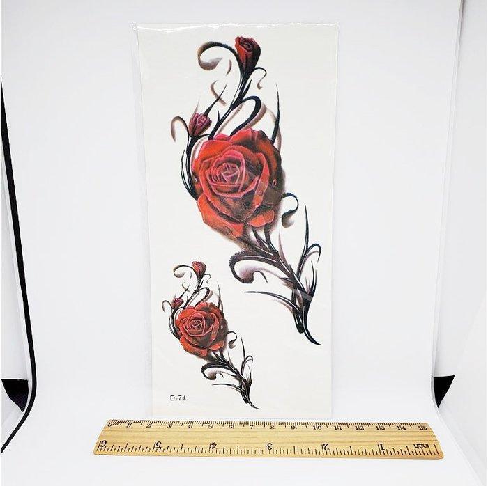 【萌古屋】玫瑰大圖D-74 - 男女防水韓風簡約紋身貼紙刺青貼紙K00