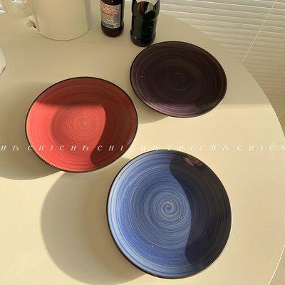 ☆.絨夏小屋o CHICHI'S INS餐具黑色描邊手繪星河陶瓷盤子民宿居家用西餐裝飾餐盤B5F3