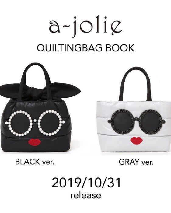 ☆Juicy☆日本雜誌附錄 a-jolie 女生 墨鏡 刺繡 空氣包 托特包 手提包 手拎包 蝴蝶結綁帶 7304