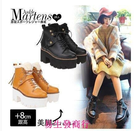 【易生發商行】JAY新品vivi日系原宿鋸齒厚底松糕系帶加絨粗跟馬丁靴棉靴短靴女F6368