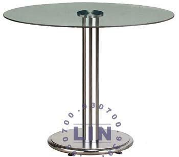 【品特優家具倉儲】657-06餐桌洽談桌303電鍍玻璃圓桌2尺
