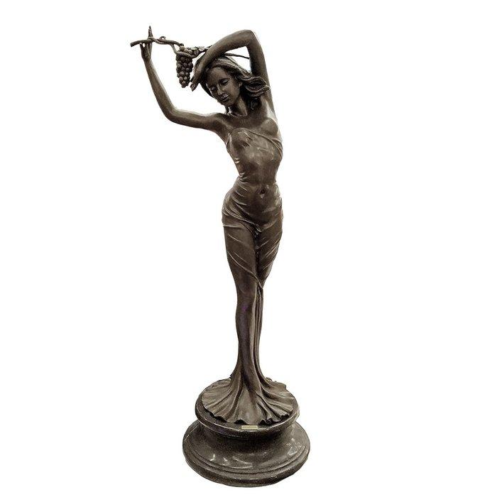 銅+大理石豐收少女手作銅雕